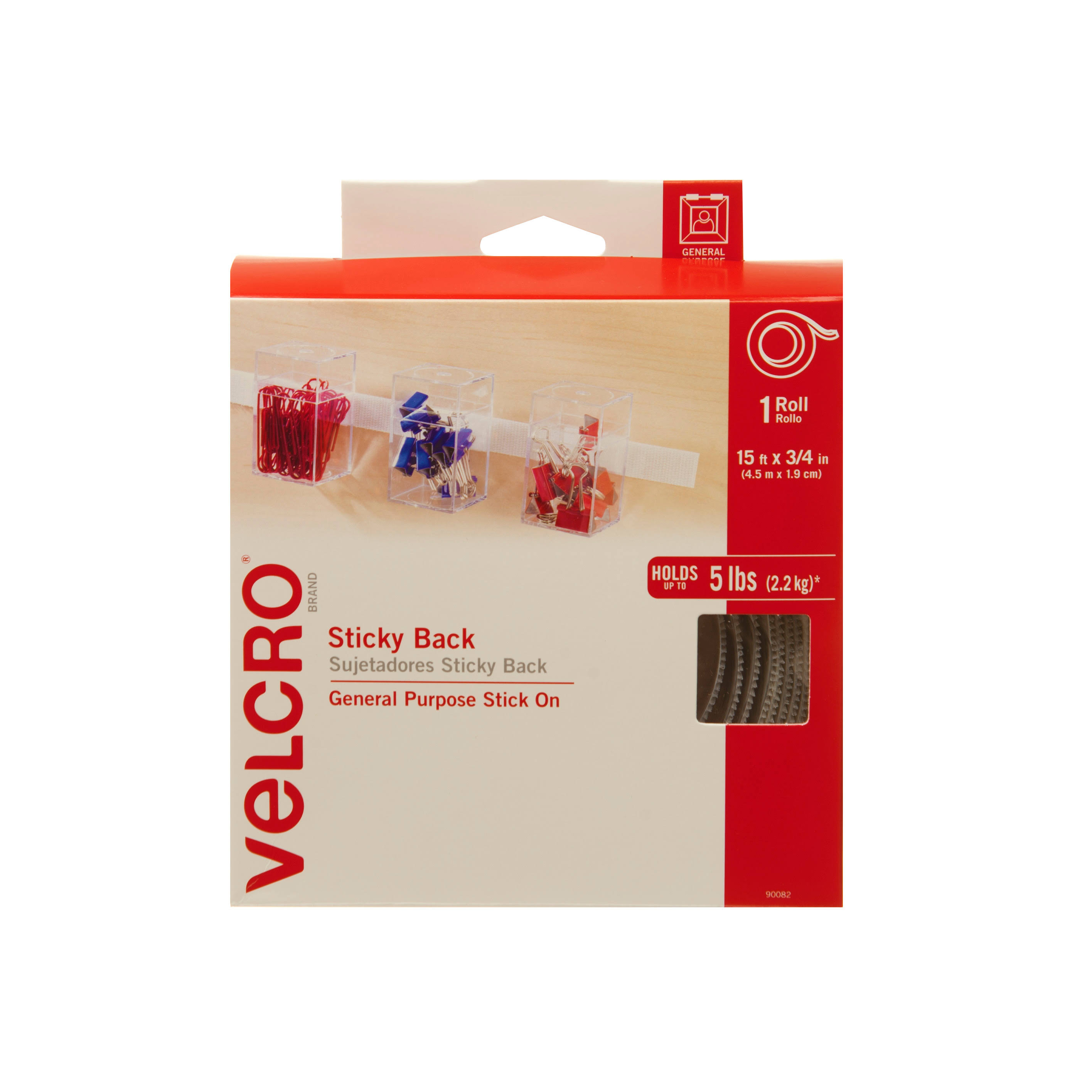 Velcro Sticky Back Tape - White, 15ft x 3/4in