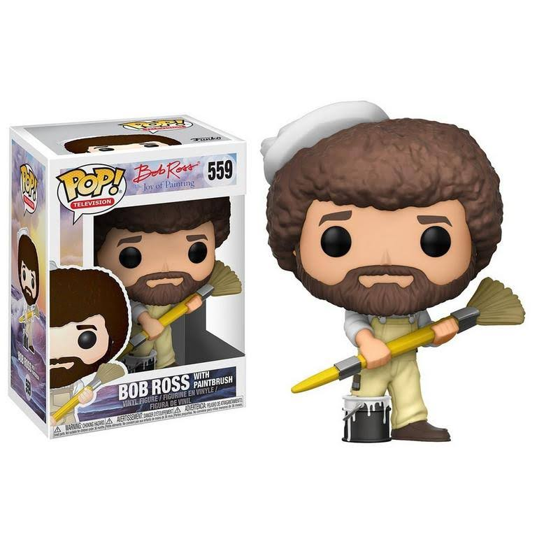 Funko Pop! TV Bob Ross in Overalls Collectible Vinyl Figure - 10cm