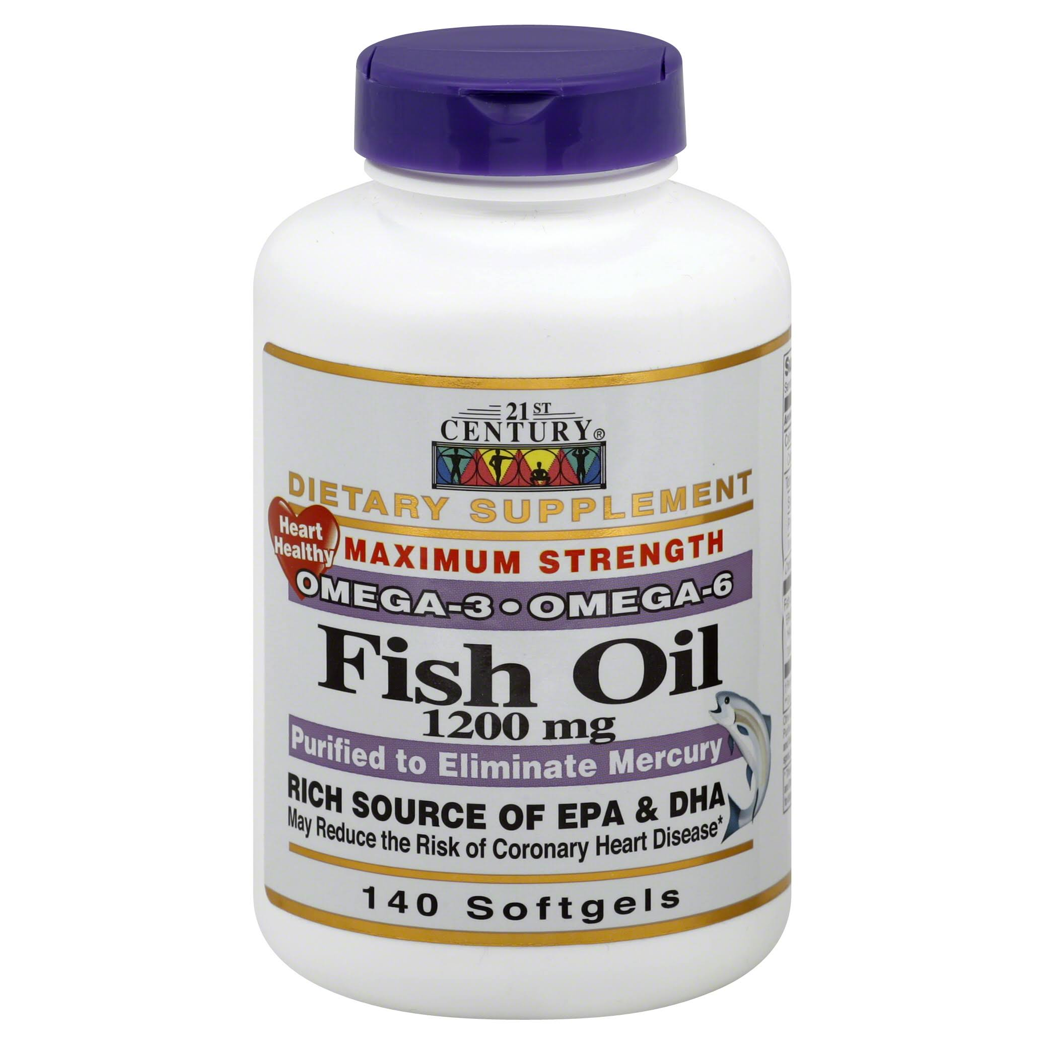 21st Century Maximum Strength Omega-3 Fish Oil 1200mg Softgels - x140