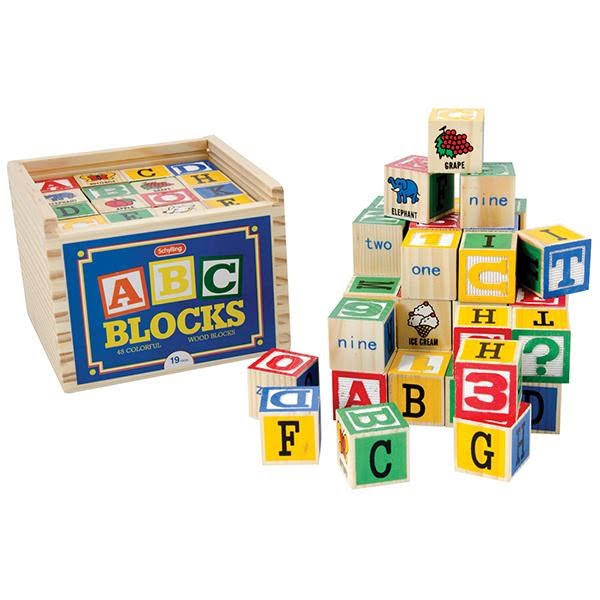 Schylling Wooden Alphabet Block Set Educational Toy - 48pc