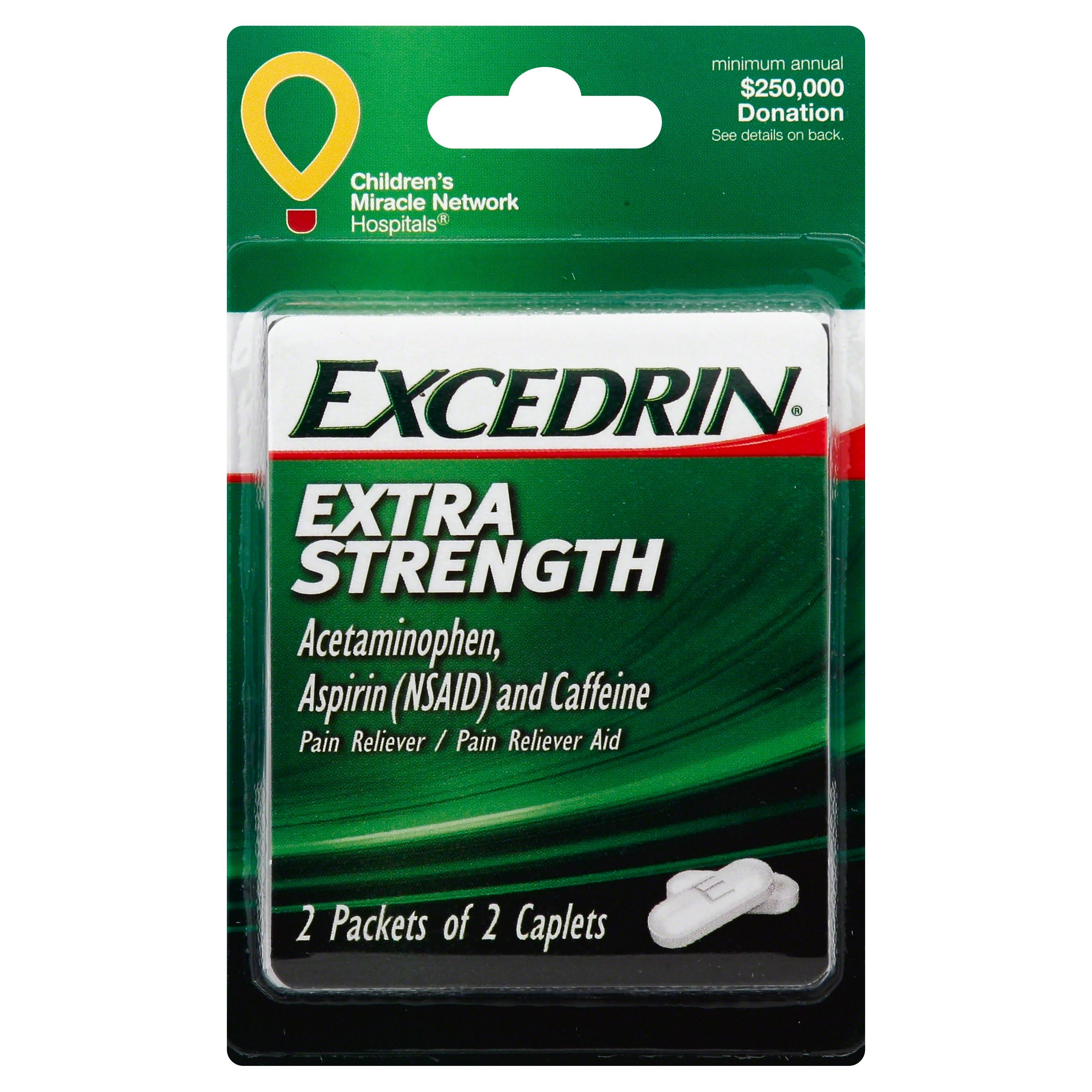 Convenience Valet Excedrin, Extra Strength, Caplets - 2 packets