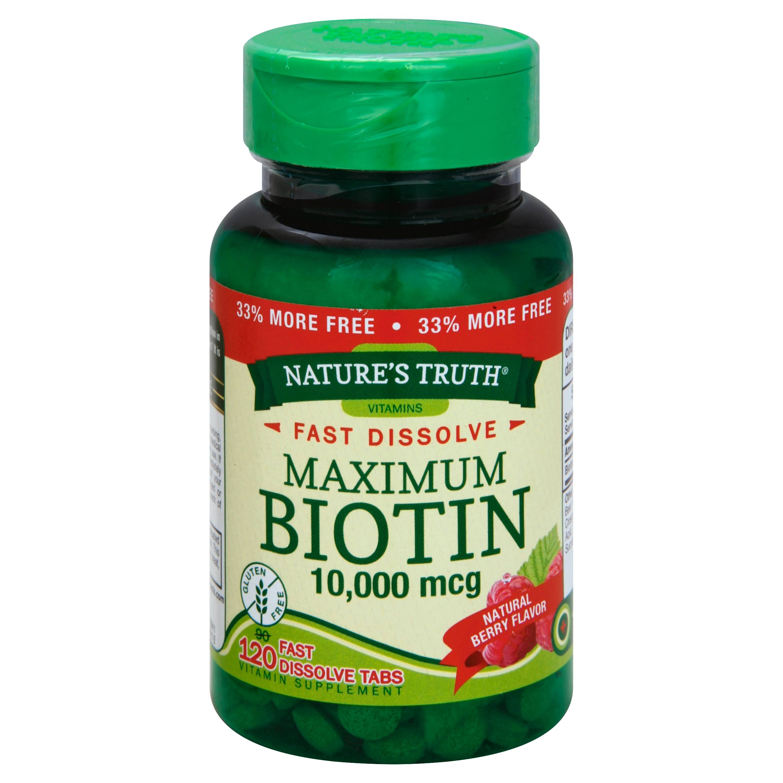Nature's Truth Maximum Biotin Supplement - 10,000mcg, 120 Fast Dissolve Tabs, Berry