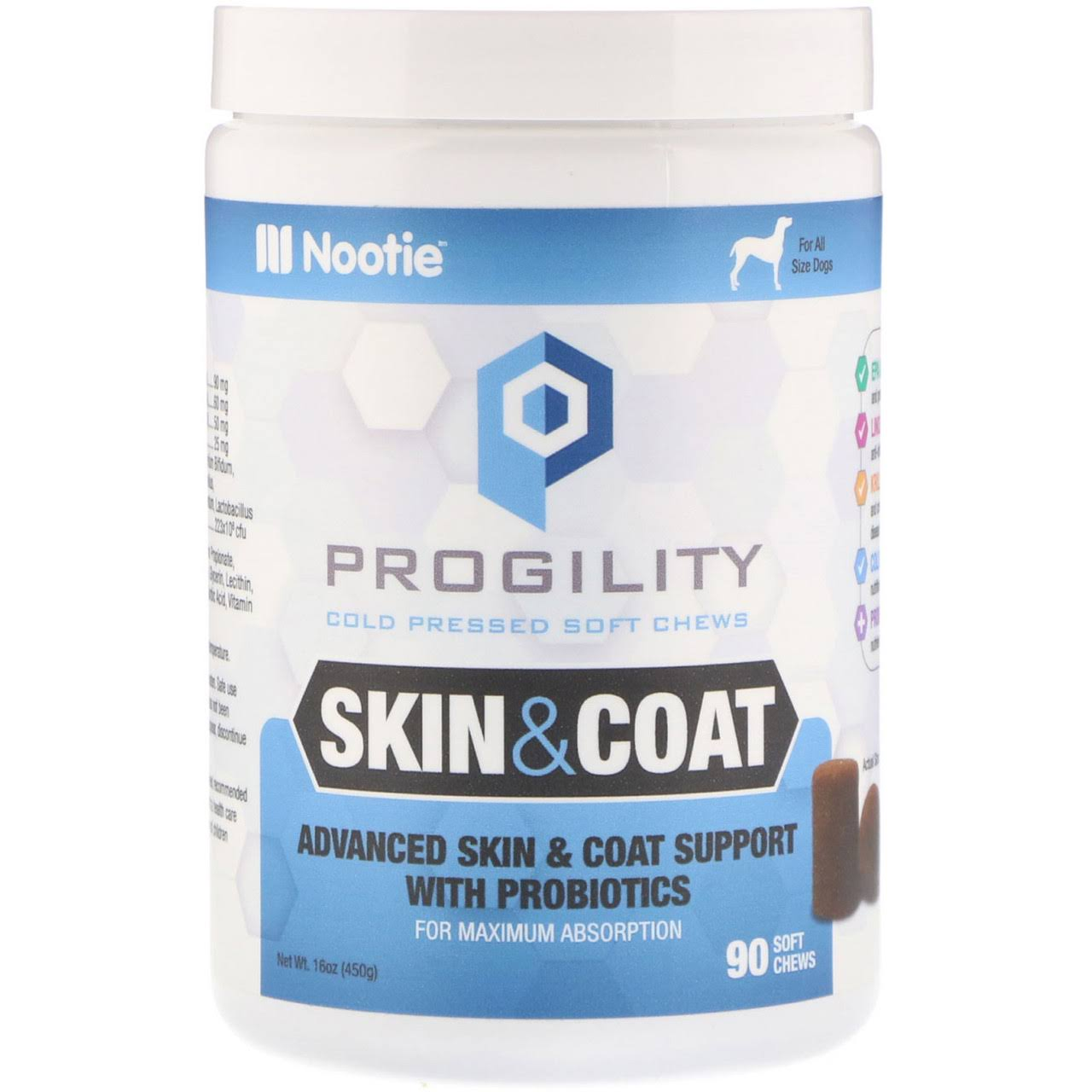 Nootie Progility Skin Coat for Dogs 90 Soft Chews