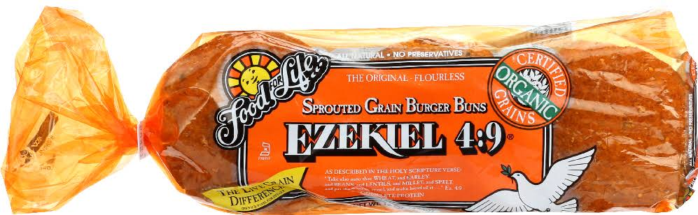 Food For Life Ezekiel 4:9 Burger Buns, Sprouted Grain - 16 oz
