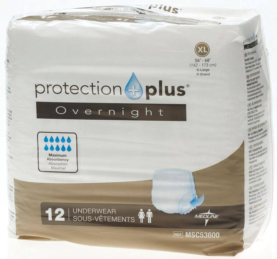 Protection Plus Overnight Protective Underwear,X-Large, 12/Bg