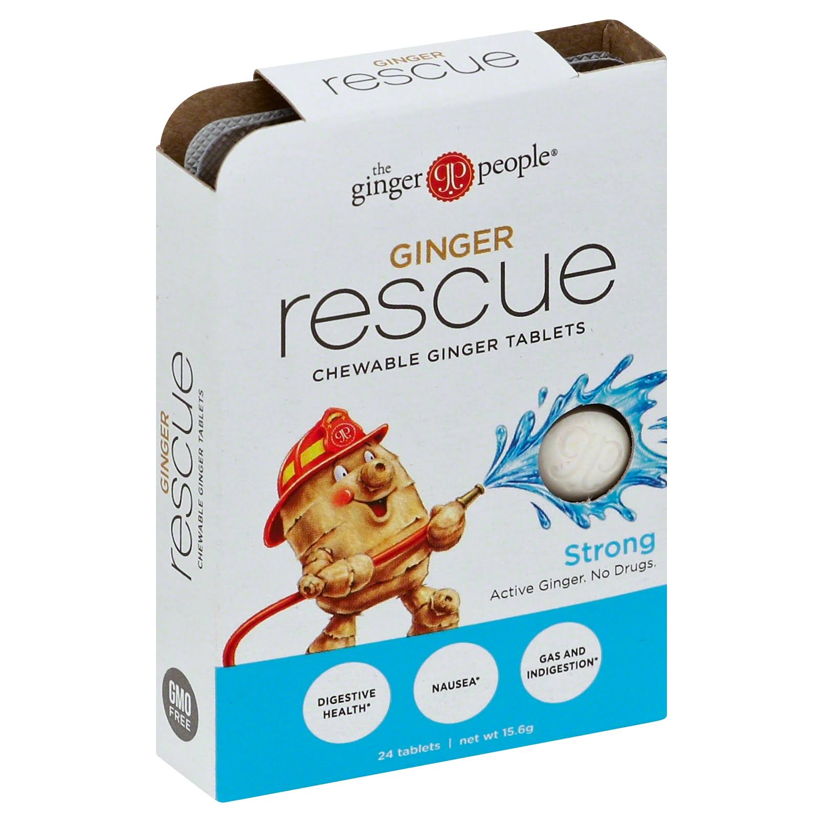 The Ginger People Ginger Rescue Chewable Ginger Tablets - 24 Tablets, 15.6g