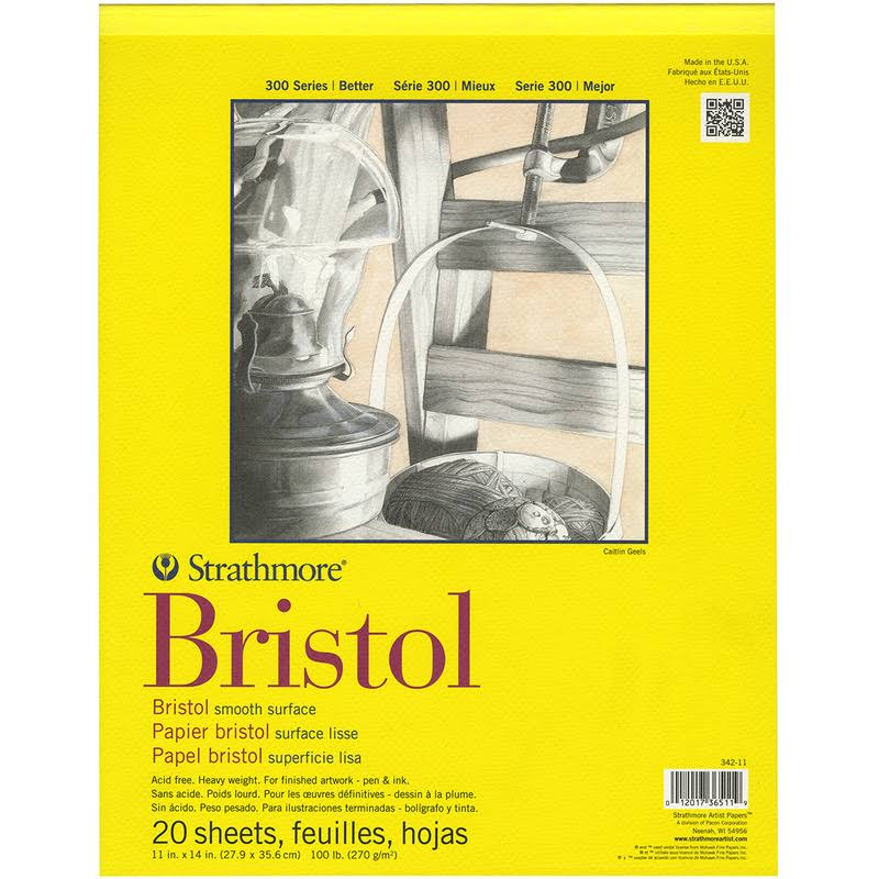"Strathmore Bristol Smooth Paper Pad - 11"" X 14"", 20 Sheets"