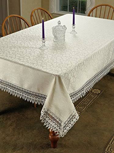 "Homecrate Flower Bow Vintage Lace Design Tablecloths 70"" x 108"" Beige"