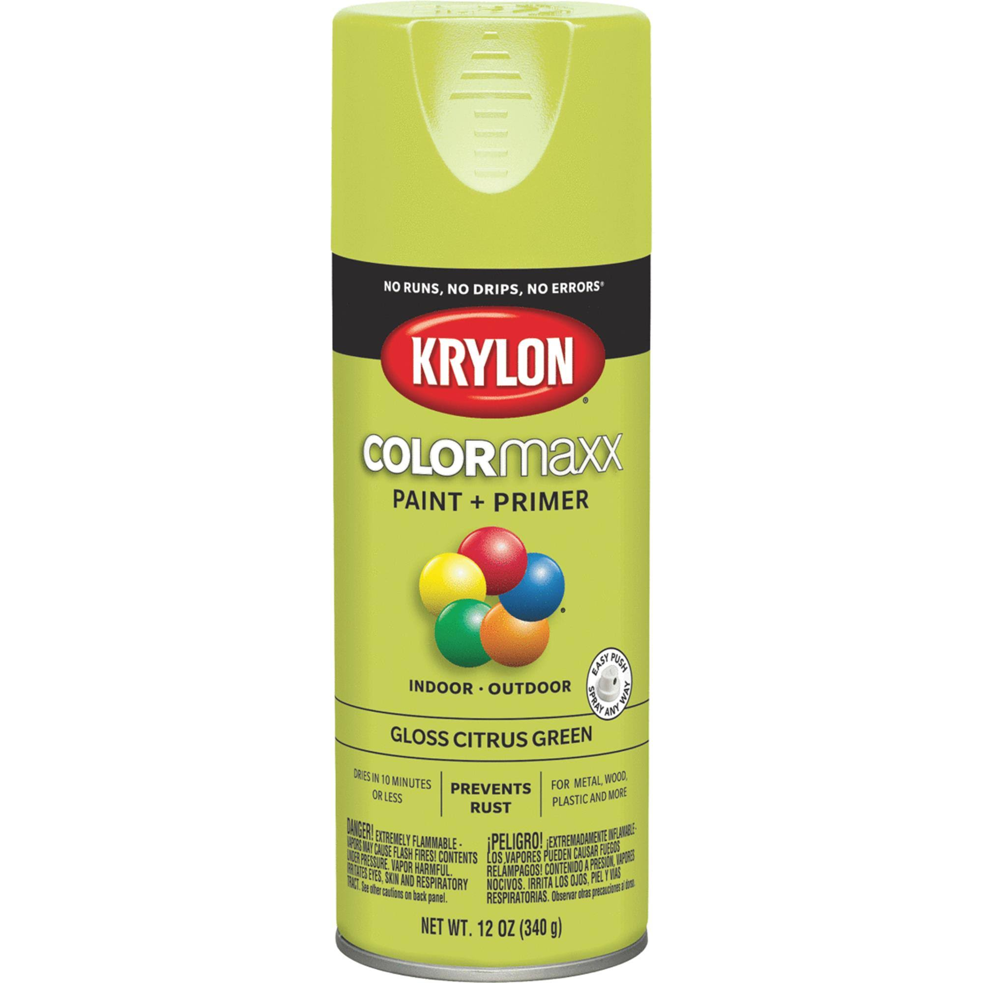 Krylon Colormaxx Paint and Primer Spray - Gloss Citrus Green, 12oz