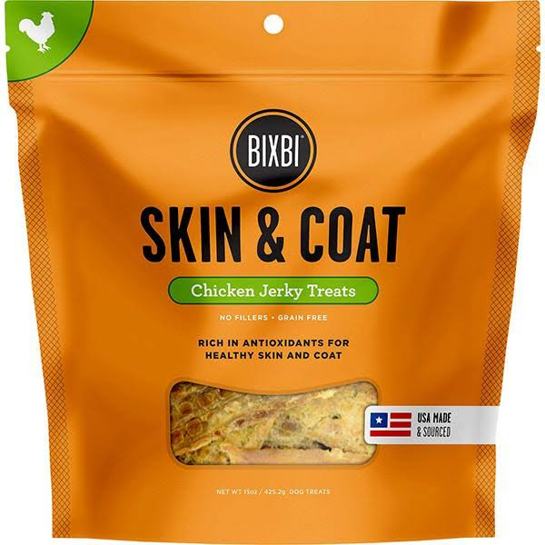 BIXBI Skin and Coat Dog Jerky Treats - Chicken, 15oz