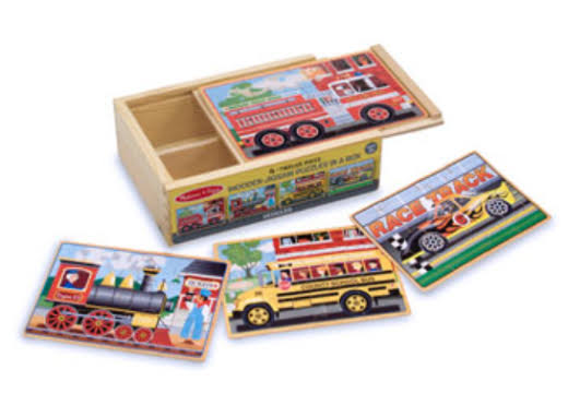Melissa & Doug Vehicle Wooden Jigsaw Puzzles in a Box