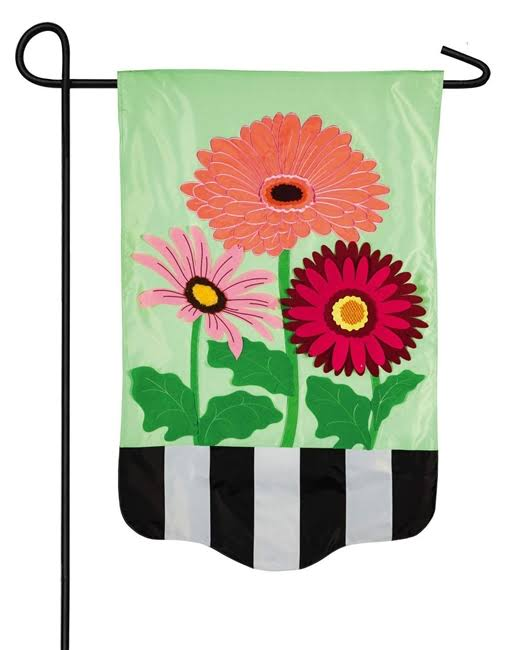 Evergreen Gerbera Daisies Stripe Garden Flag
