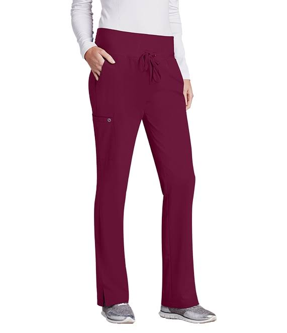 Barco One Women 5-Pocket Knit Waistband Flare Scrub Pant - Wine (S)