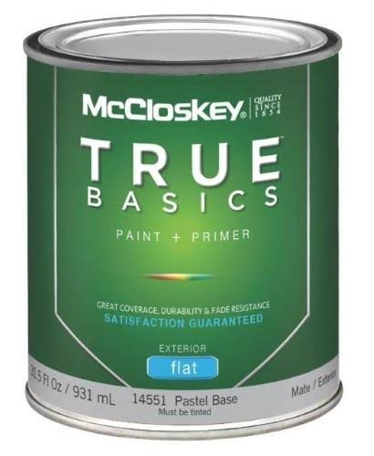 McCloskey True Basics Latex Paint and Primer Flat Exterior House Paint - 31.5oz