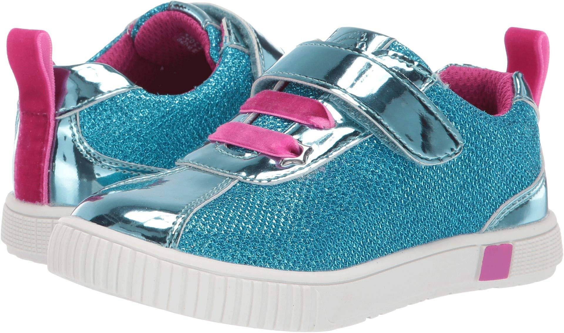 Livie & Luca Girl's Sneaker Aqua Metallic Spin Sneaker Toddler 9