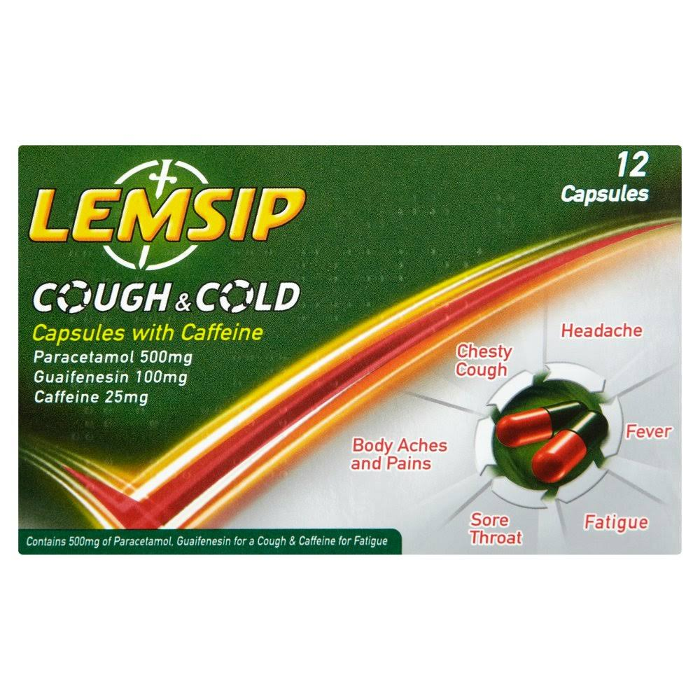 Lemsip Cough & Cold Capsules with Caffeine 12 Capsules