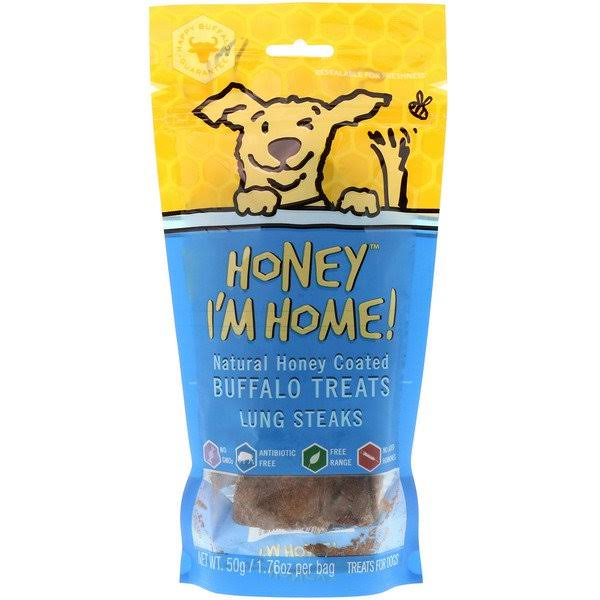 Honey I'm Home! Honey Coated Buffalo Lung Steaks Dog Treat - 1.76oz