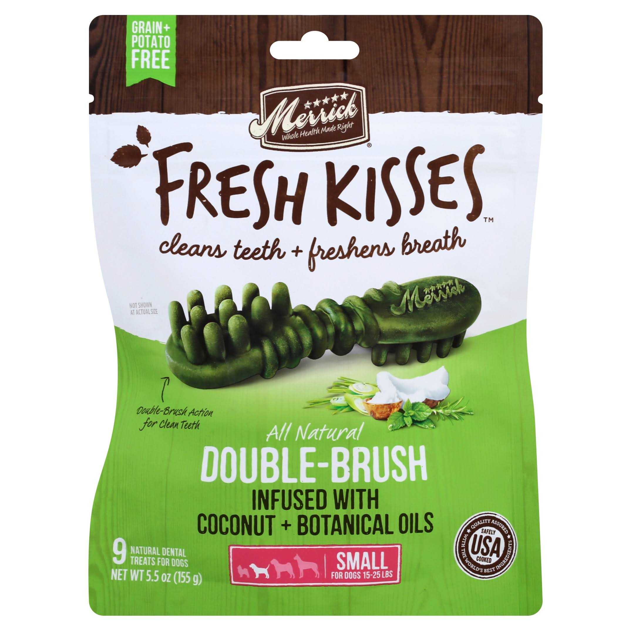Merrick Fresh Kisses Dental Treats, for Dogs, 15-25 lbs, Coconut + Botanical Oils, Double-Brush, Small - 9 treats, 5.5 oz