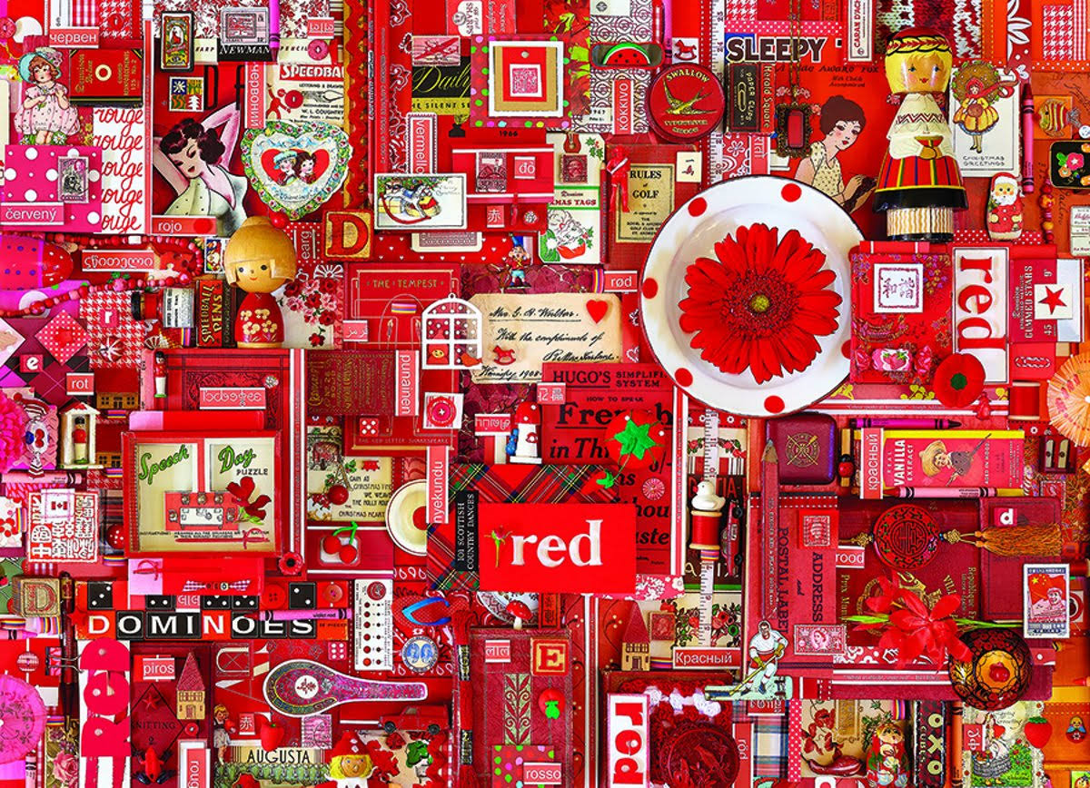Cobble Hill Red 1000 Piece Jigsaw Puzzle, Red