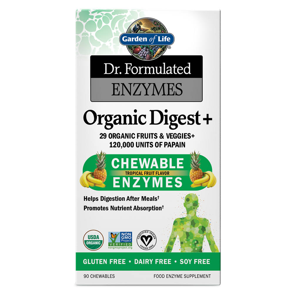 Garden of Life Dr. Formulated Enzymes Organic Digest Plus Supplement - 90 Count, Chewable