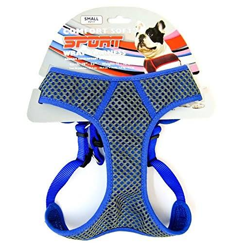 Comfort Soft Sport Wrap Adjustable Dog Harness, Grey & Blue, XX-Small