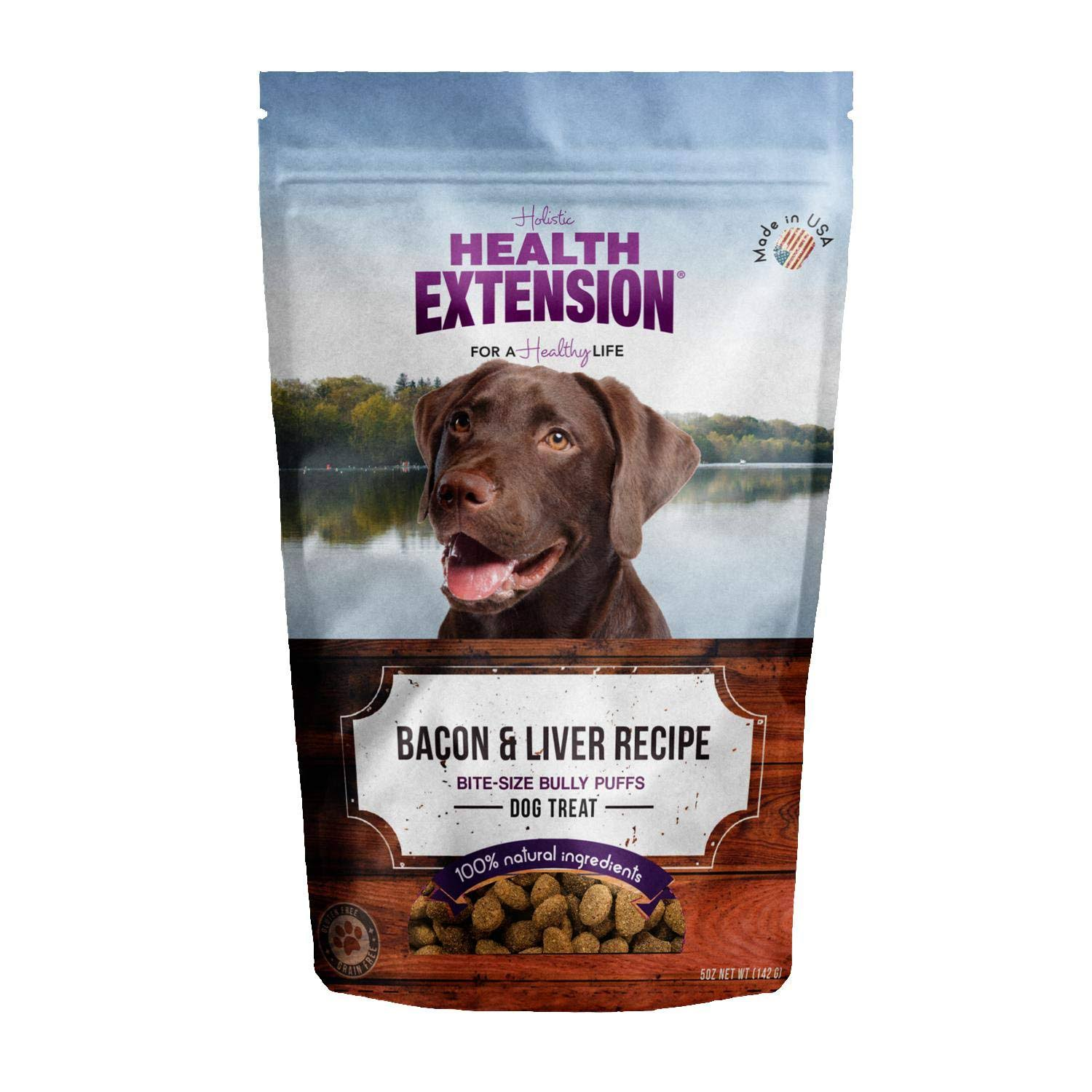 Health Extension Bully Puffs Dog Treats - Bacon & Liver