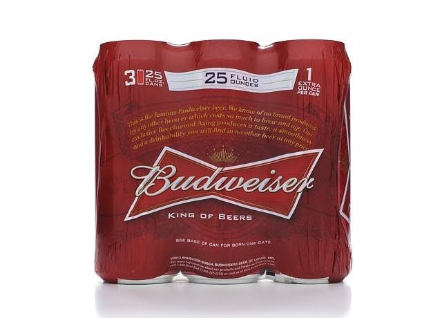 Budweiser Beer - 25 oz, 3 pack