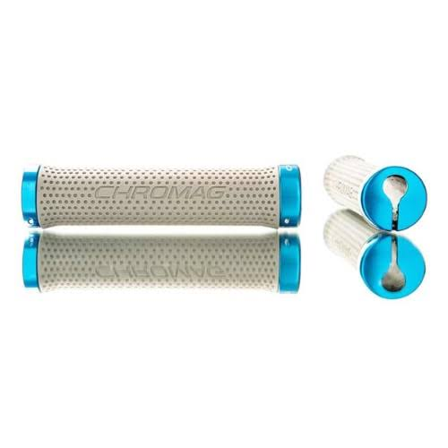 Chromag Basis Lock Grips - 142mm, Gray and Blue