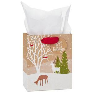 Deer on Kraft Small Christmas Gift Bag with Tissue, 6.5""