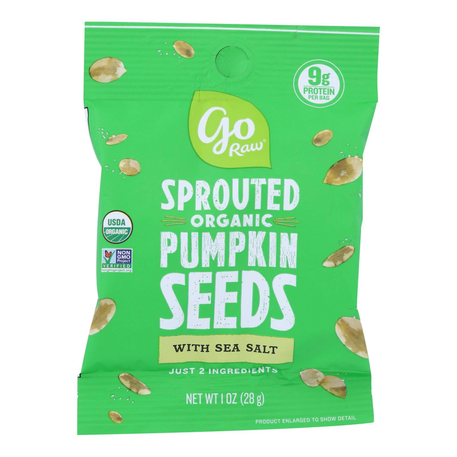 Go Raw - Seed Pumpkin Sea Salt Sprtd - Case of 12 - 1 oz