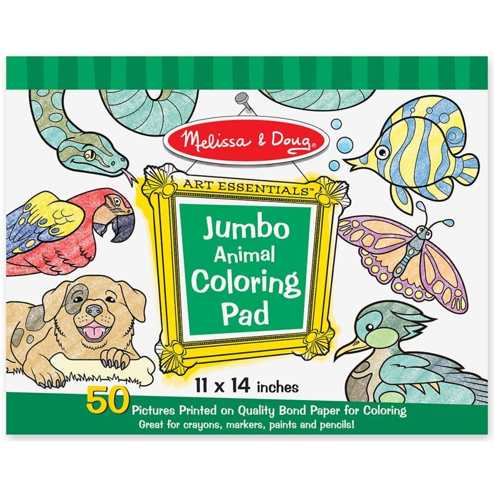 Melissa and Doug Art Jumbo Triangle Crayons and Jumbo Animal Coloring Pad