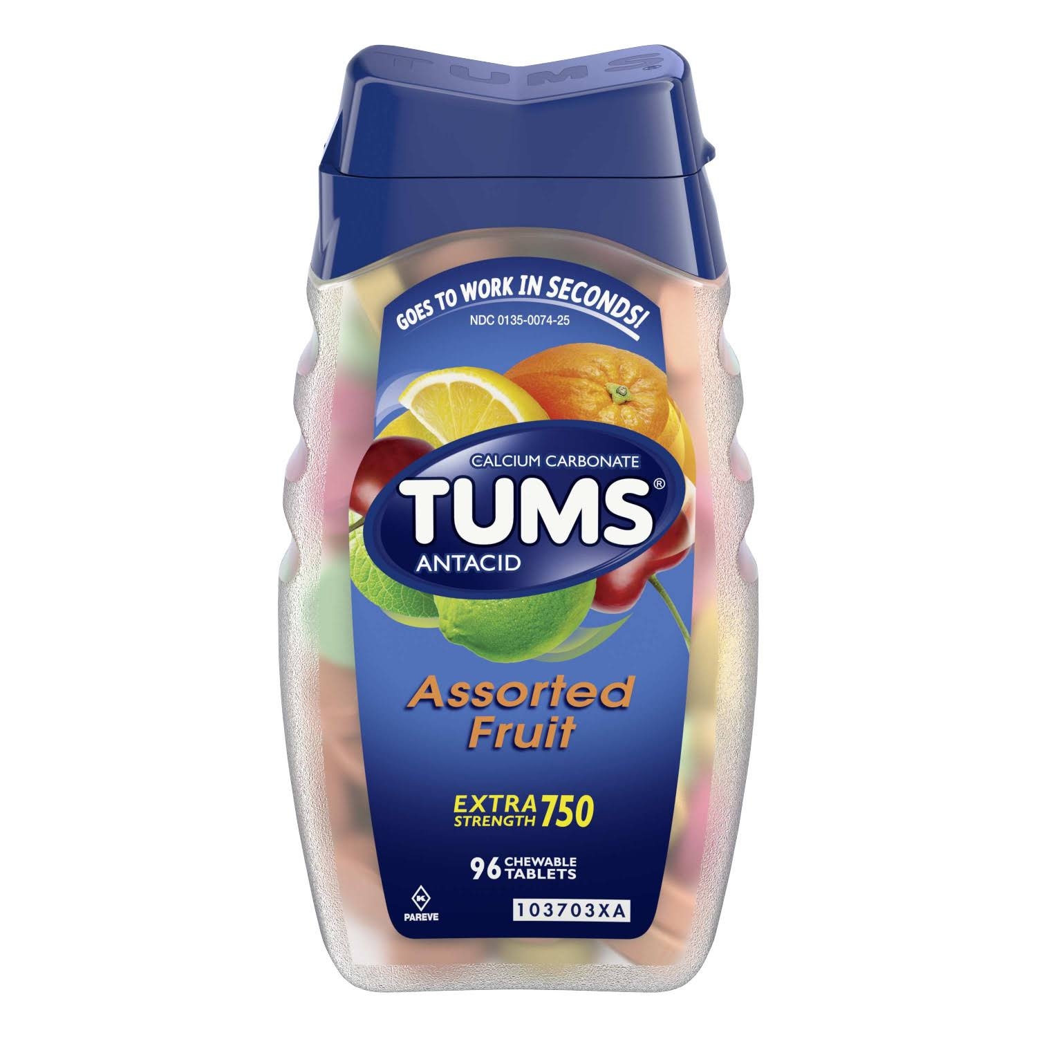 Tums Antacid Plus Calcium Supplement - Assorted Fruit, 96 Tablets