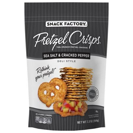 Snack Factory Pretzel Crisps - Sea Salt and Cracked Pepper, 319g