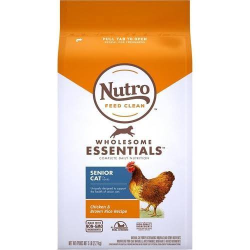 Nutro Wholesome Essentials Chicken & Brown Rice Recipe Senior Dry Cat Food, 5-lb Bag