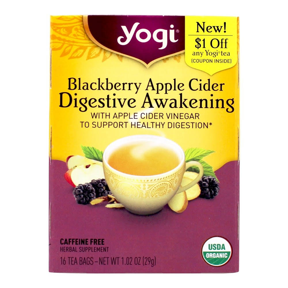 Yogi Apple Cider, Blackberry, Digestive Awakening - 16 bags, 1.02 oz