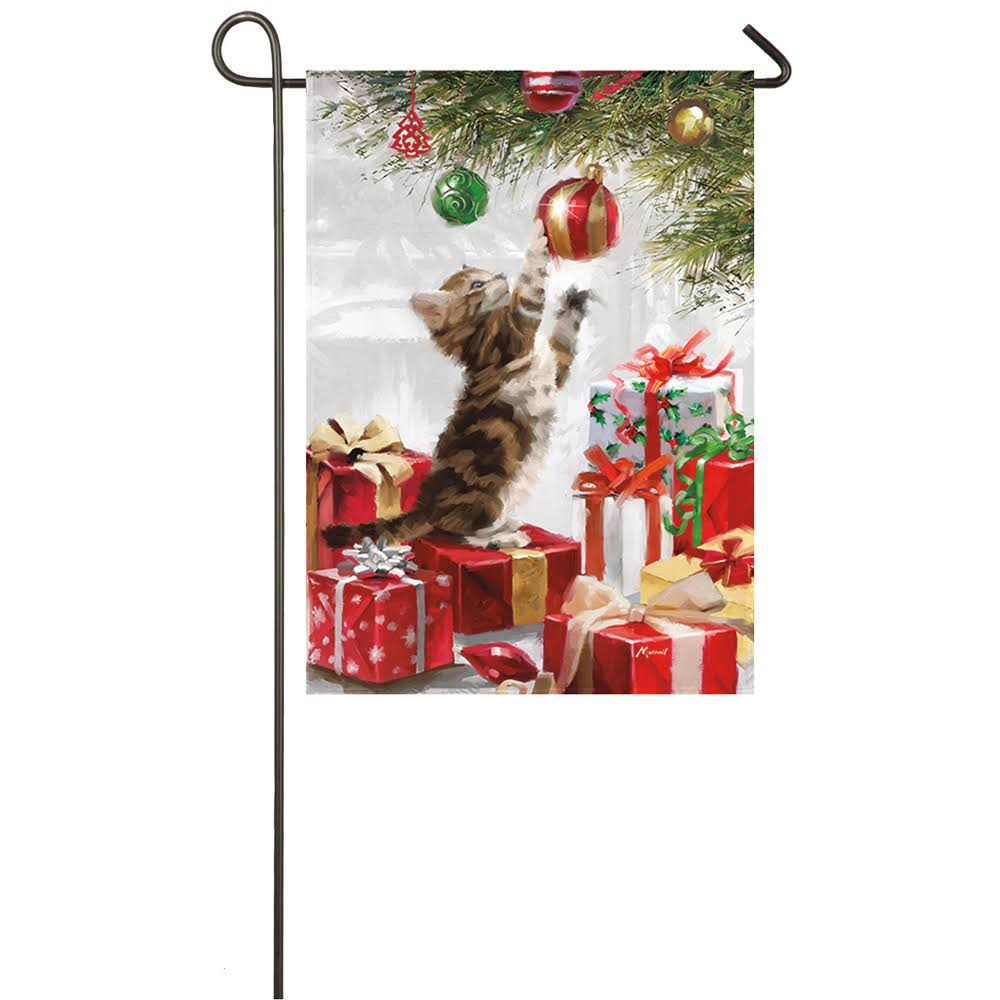 Evergreen Christmas Kitten Satin Garden Flag