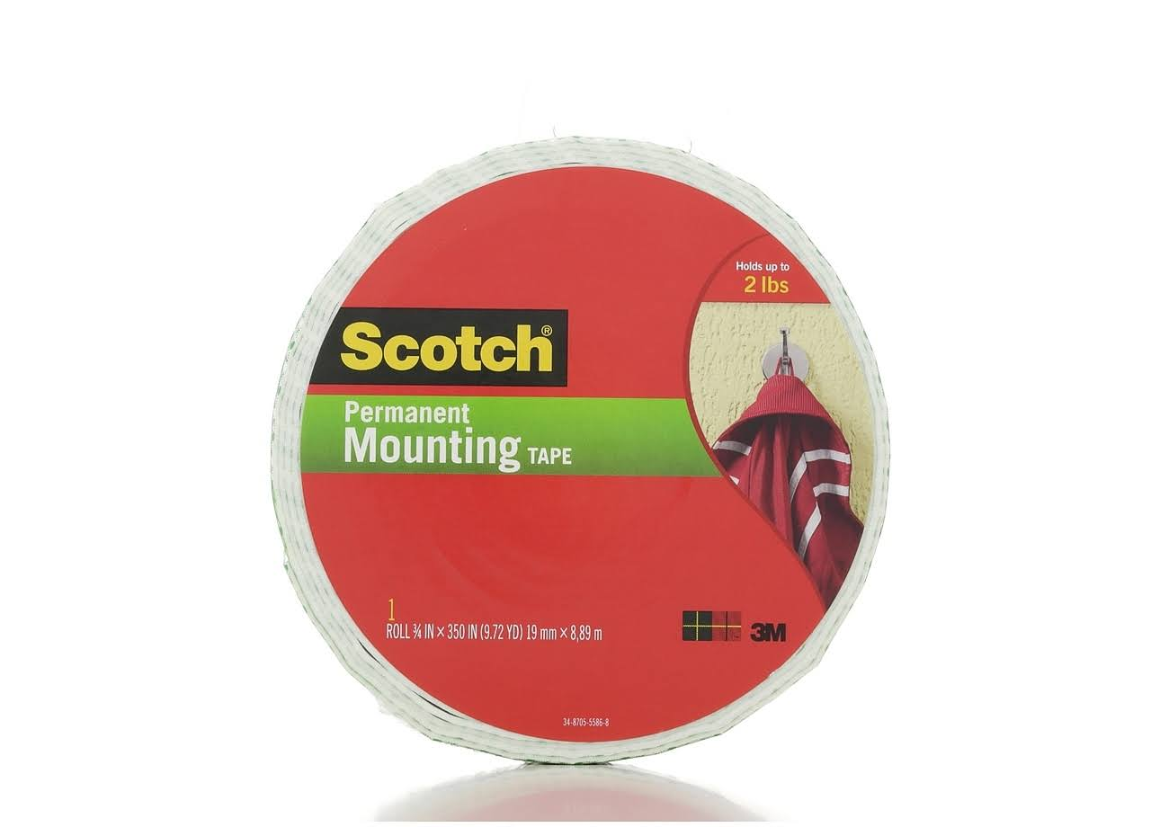 "3M Scotch Indoor Mounting Tape - 0.75"" x 350"", White"