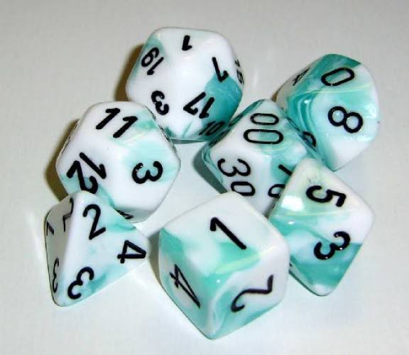 Chessex: Polyhedral Dice Set - Gemini Teal-White w/Black (7)
