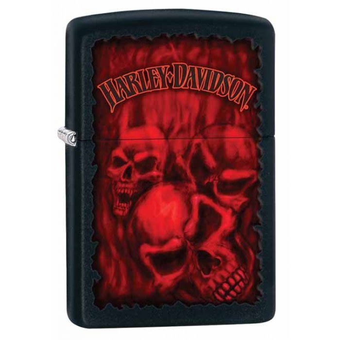 Zippo Harley Davidson Lighter - Black Matte and Red, Skulls