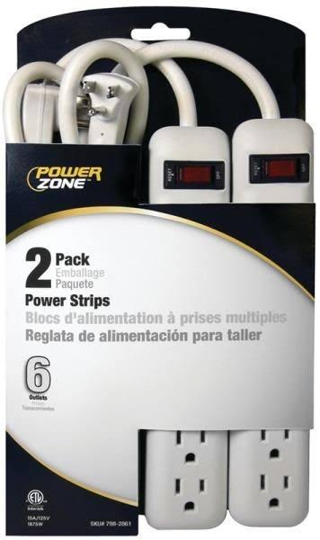 Power Zone OR7000X2 6 Outlet Power Strip - 2 pack