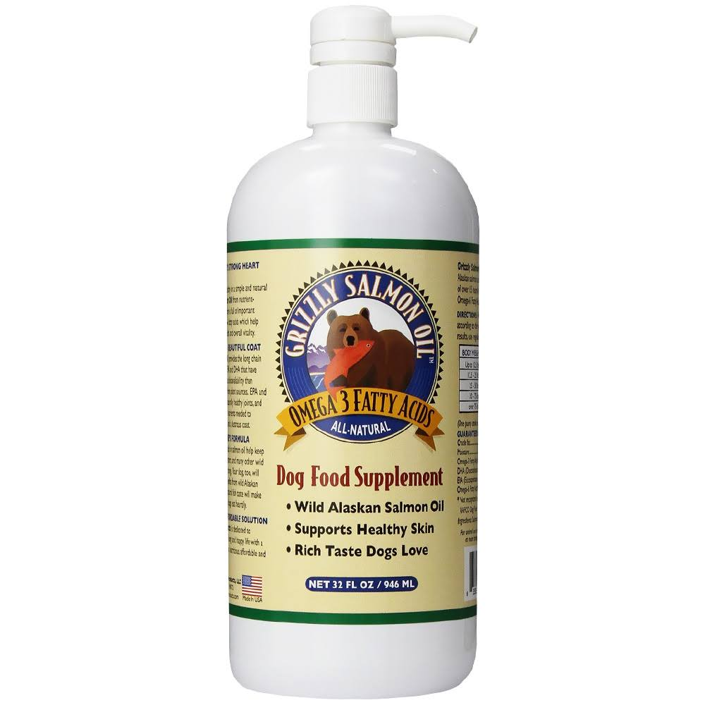 Grizzly Salmon Oil All-Natural Dog Food Supplement - 32oz