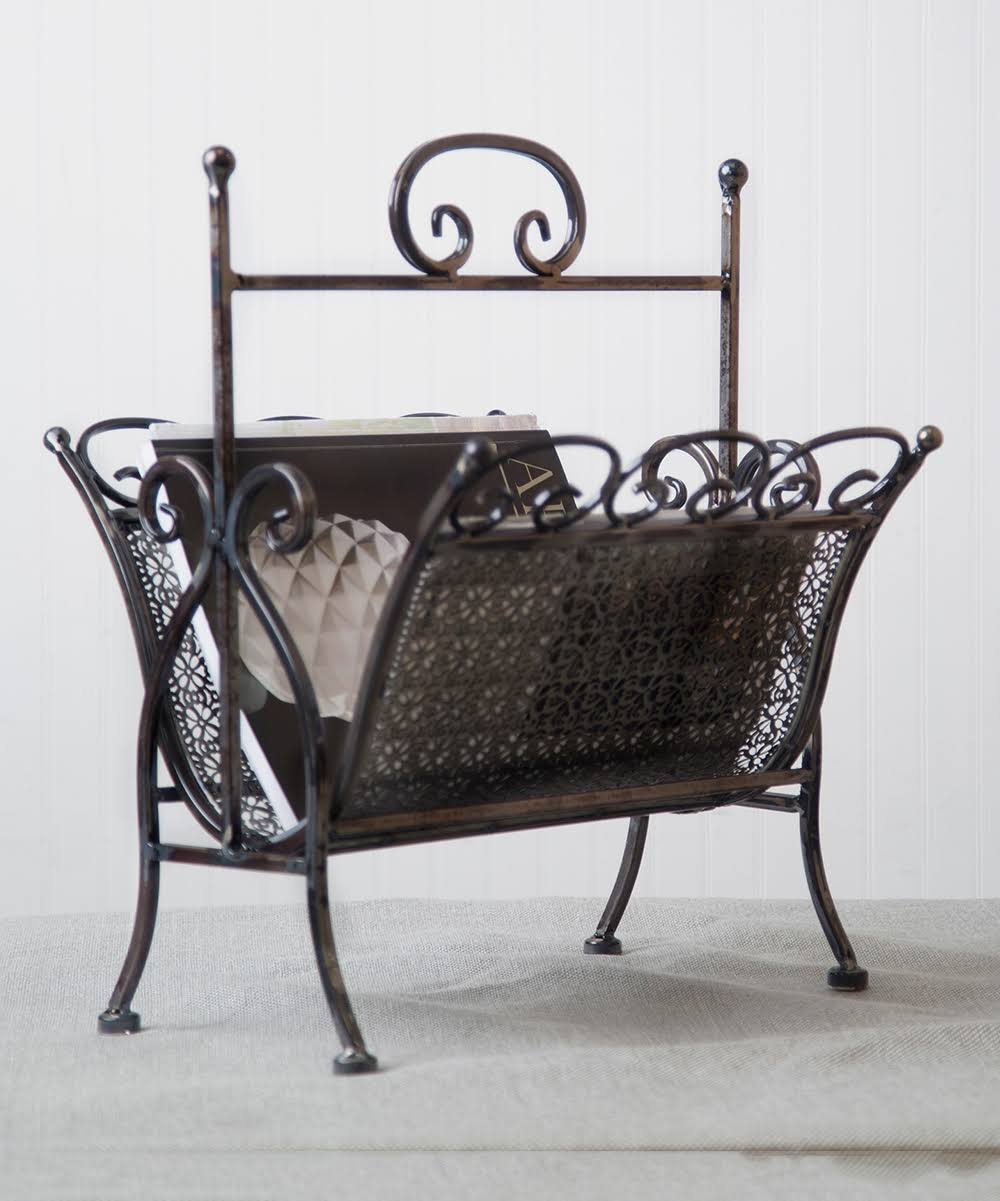 Home Essentials and Beyond Wall Art - Pierced Metal Magazine Rack