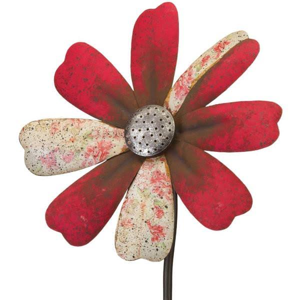 Regal Art & Gift 12297 - Red Flower Wind Spinner Garden Stake Lawn Dec
