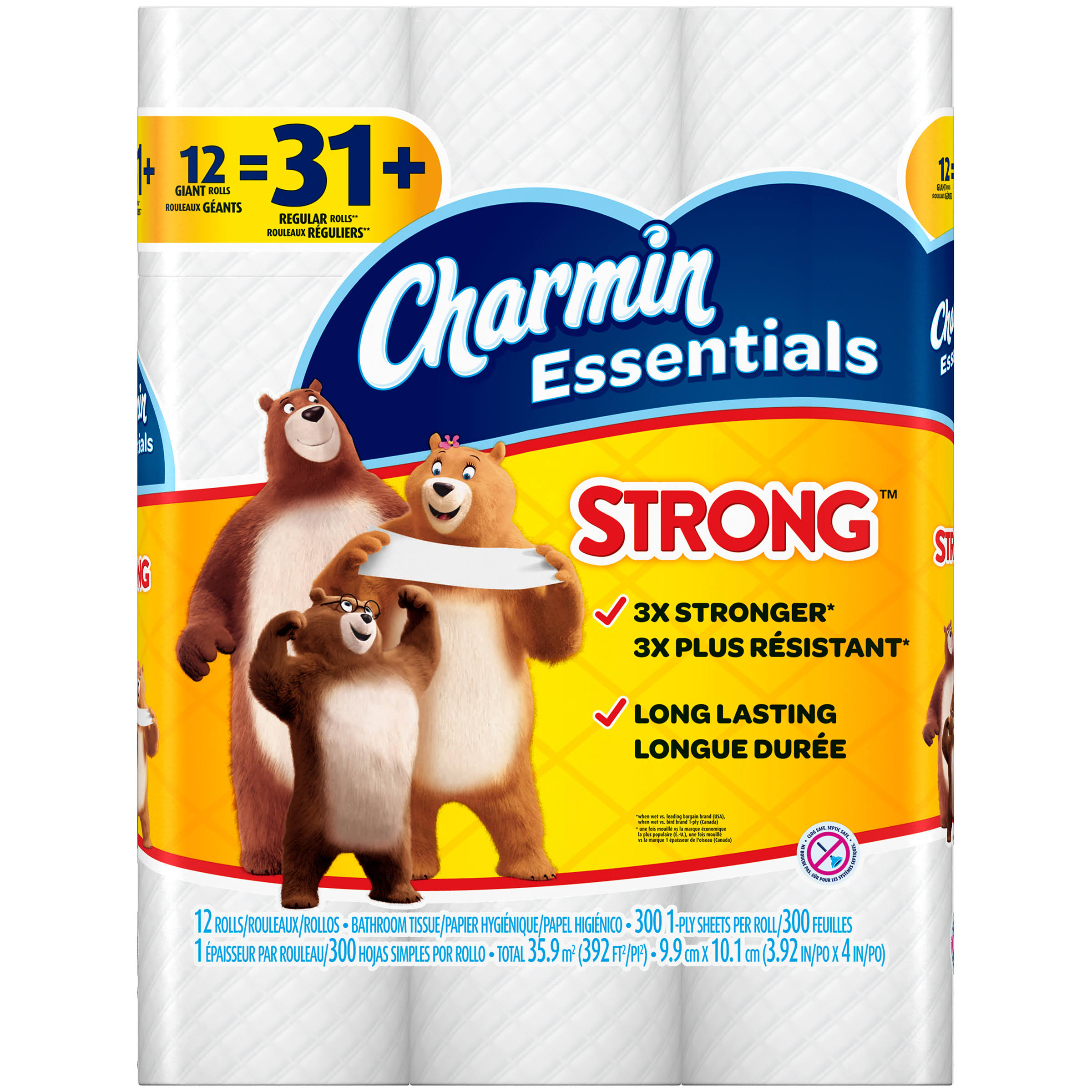 Charmin Essentials Strong Toilet Paper - 12 Giant Rolls