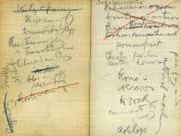 Foto de páginas manuscritas de Finnegans Wake