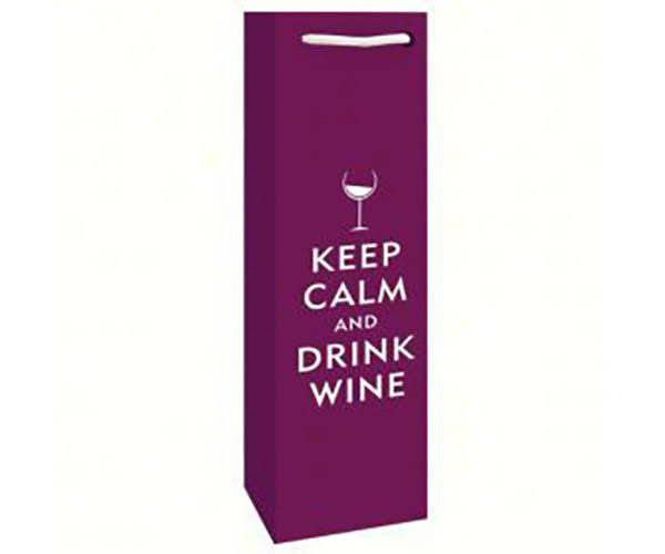 Bella Vita BVP1DRINKWINE Printed Paper Single Wine Bag - Drink Wine
