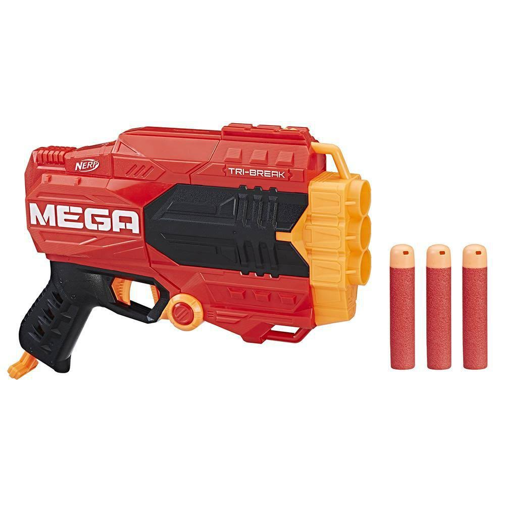 Nerf N Strike Mega Tri Break Kids Pretend Play Toy Blaster Hand Gun with Darts