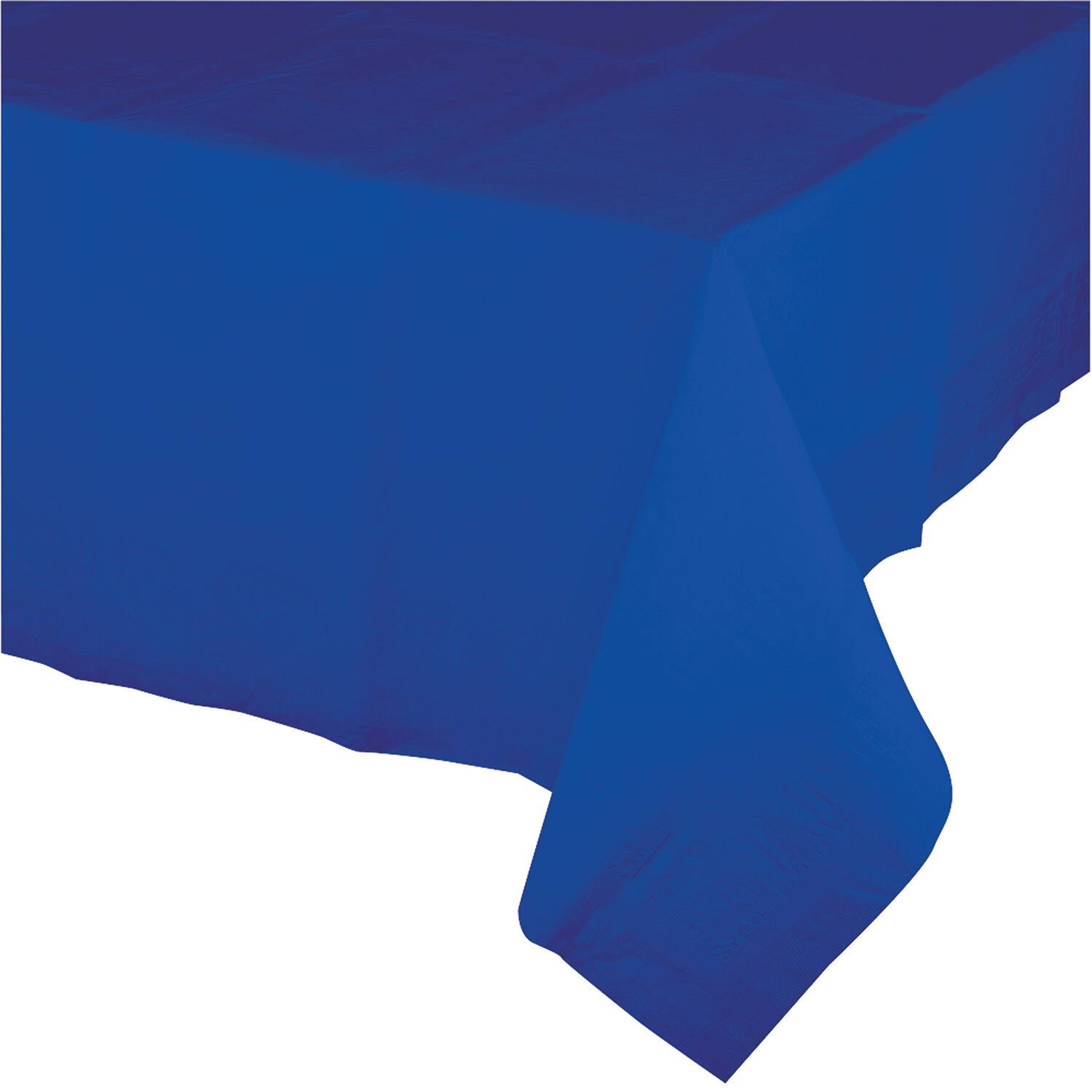 "Creative Converting Touch of Color Tissue Table Cover with Poly Backing - 54"" x 108"", Cobalt Blue"