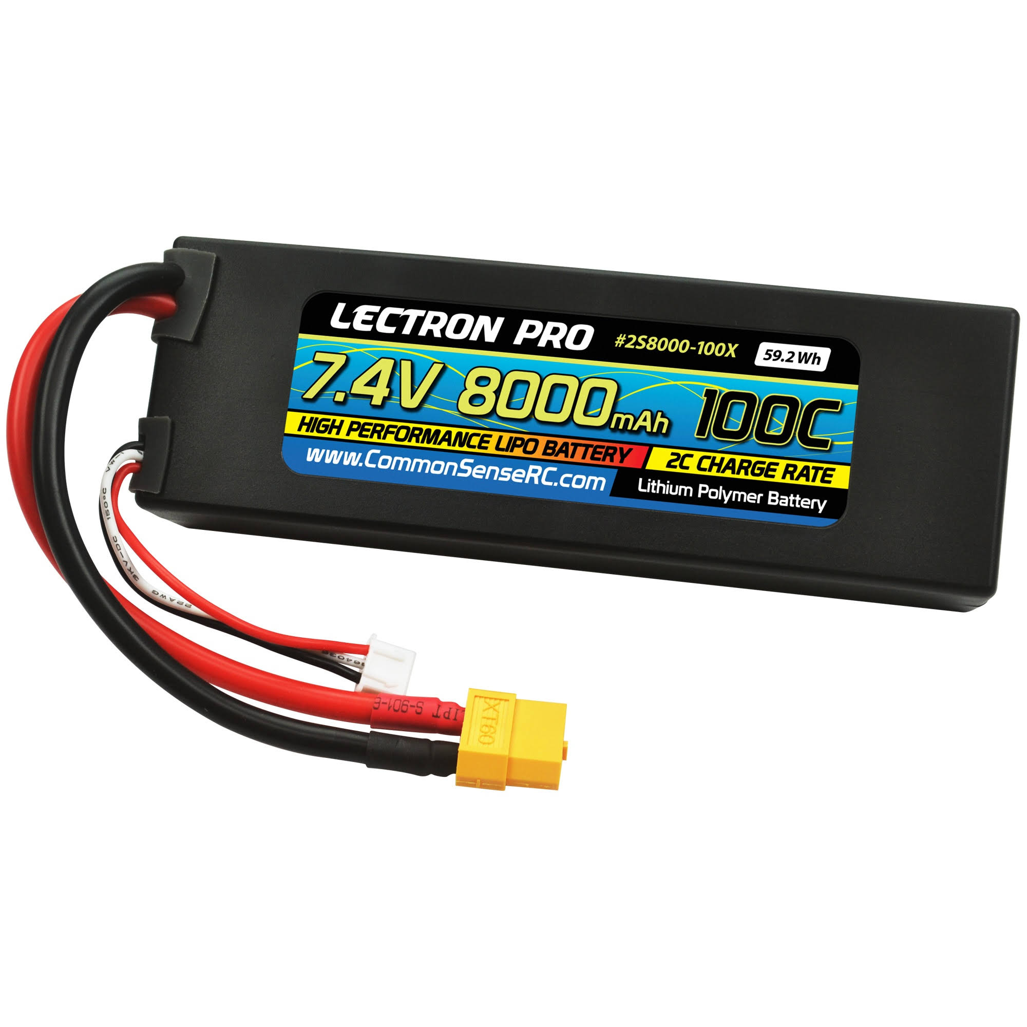 Lectron Pro Lipo Battery - 7.4v, 8000mah, 100C, With XT60 Connector