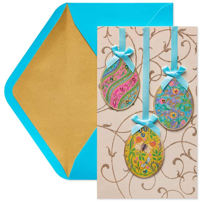Papyrus Greeting Card-Hanging Eggs Easter